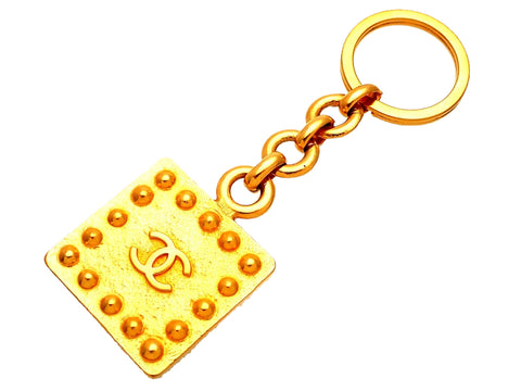 Authentic vintage Chanel key chain ring Square CC logo