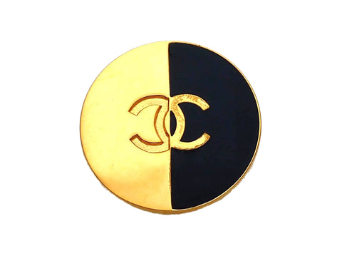 Authentic Vintage Chanel pin brooch Black Gold CC logo Round