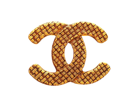 Authentic Vintage Chanel pin brooch Mesh CC logo double C