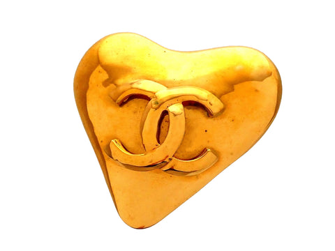 Authentic Vintage Chanel pin brooch CC logo Heart