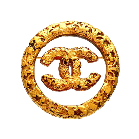 Authentic Vintage Chanel pin brooch Decorative CC logo Round