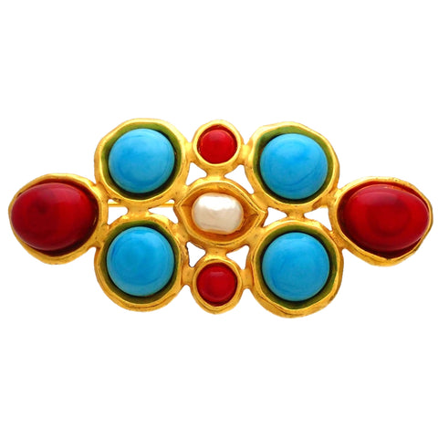Authentic Vintage Chanel pin brooch Faux Pearl Red Blue Stones