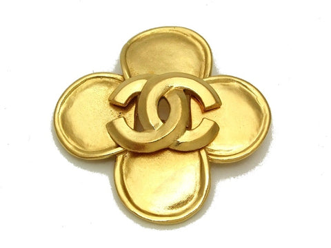 Authentic vintage Chanel pin brooch gold CC flower