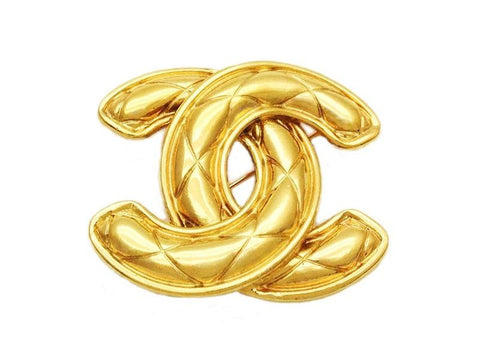 Authentic vintage Chanel pin brooch gold quilted CC logo double C