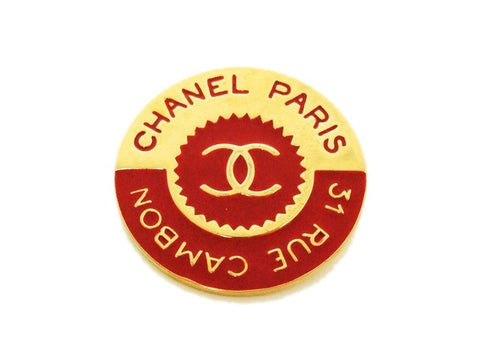 Authentic vintage Chanel pin brooch gold CC logo Rue Cambon red round