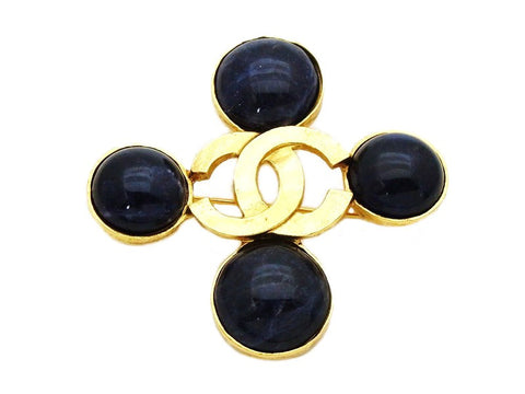 Authentic vintage Chanel pin brooch gold CC logo navy blue stone cross