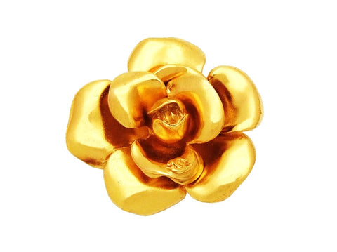 Authentic vintage Chanel pin brooch CC logo gold camellia flower real
