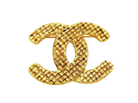 Authentic vintage Chanel pin brooch gold CC logo double C jewelry