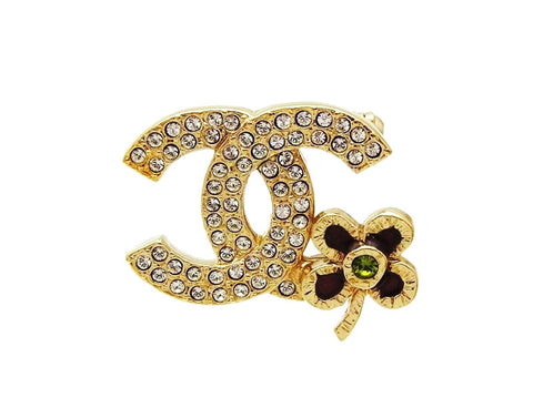 Vintage Chanel pin brooch CC logo rhinestone flower jewelry Authentic