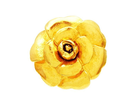 Vintage Chanel camellia pin brooch gold flower jewelry Authentic