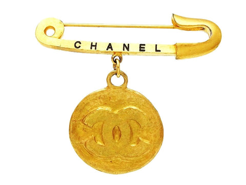 Vintage Chanel safety pin brooch CC logo round dangling Authentic