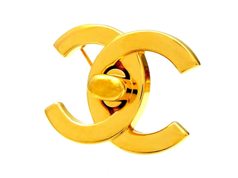 Vintage Chanel turnlock CC logo brooch pin