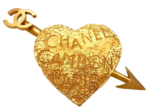 Vintage Chanel pin brooch arrow heart CC logo huge
