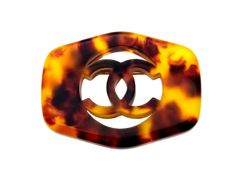 Vintage Chanel pin brooch CC logo tortoiseshell color