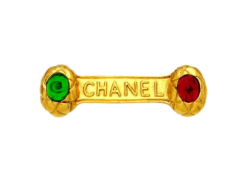 Vintage Chanel pin brooch logo red green stone