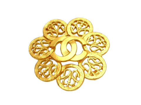 Vintage Chanel pin brooch CC logo flower