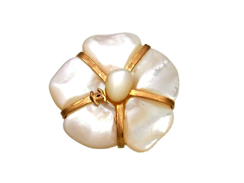 Vintage Chanel pin brooch CC logo white stone