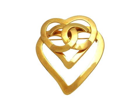 Vintage Chanel pin brooch CC logo heart
