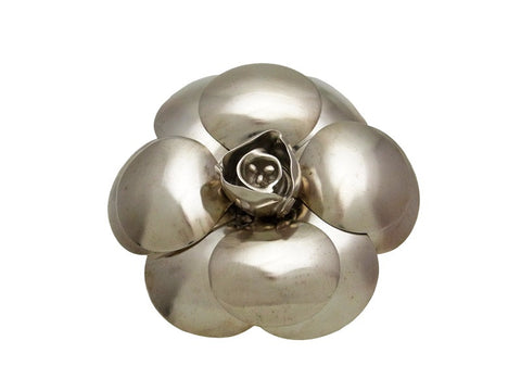 Vintage Chanel pin brooch camellia flower metallic