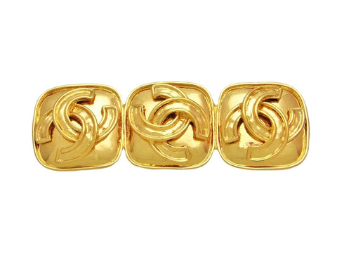 Vintage Chanel pin brooch triple CC logo quad