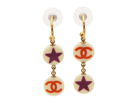 Authentic vintage Chanel stud earrings CC logo star round dangle real