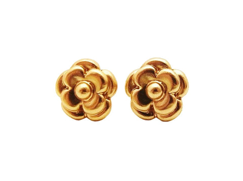 Authentic vintage Chanel stud earrings gold camellia small jewelry