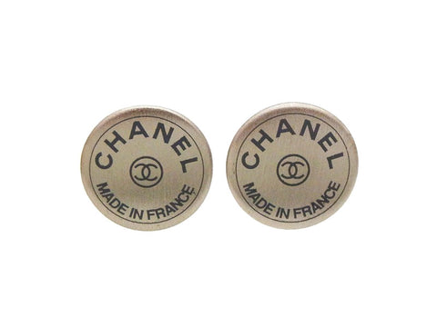 Authentic vintage Chanel stud earrings CC logo metallic round jewelry