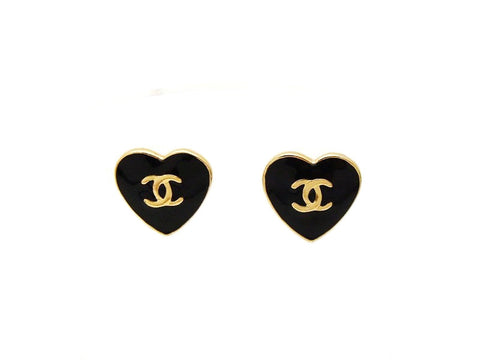 Authentic vintage Chanel stud earrings CC logo black heart jewelry