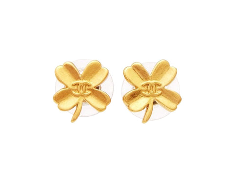 Chanel stud earrings CC logo gold clover Authentic