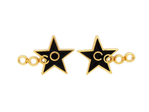 Chanel stud earrings COCO logo black star Authentic