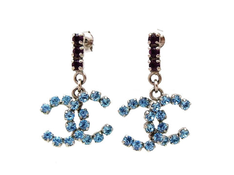 Chanel stud earrings CC logo light blue rhinestone dangle Authentic