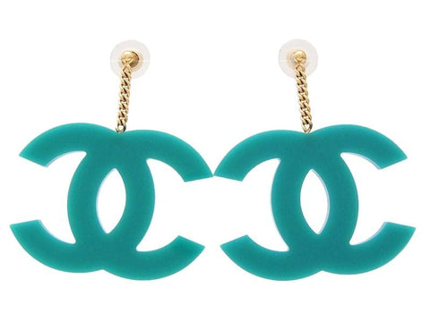 Chanel stud earrings big CC logo blue dangle Authentic Vitnage Chanel