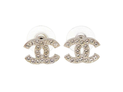 Chanel stud earrings CC rhinestone silver Authentic vintage Chanel
