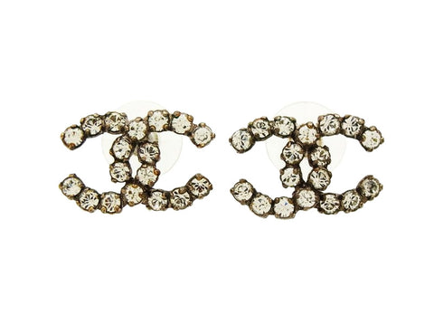 Vintage Chanel stud earrings CC logo double C rhinestone Authentic
