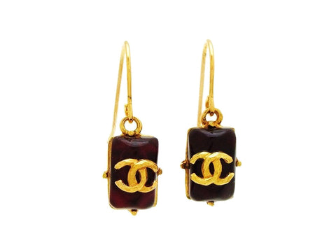 Vintage Chanel stud earrings red stone CC logo dangle