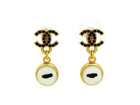 Vintage Chanel stud earrings CC logo rhinestone white button dangle