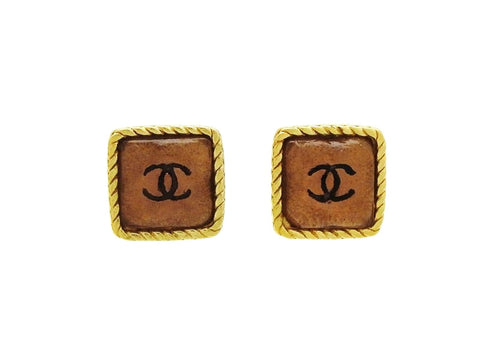 Vintage Chanel stud earrings CC logo pink glass stone Authentic