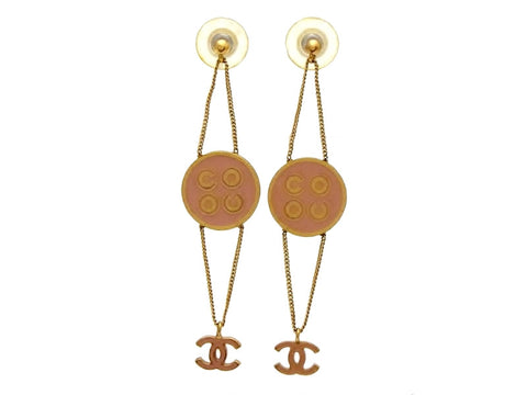 Vintage Chanel stud earrings COCO orange CC logo dangle