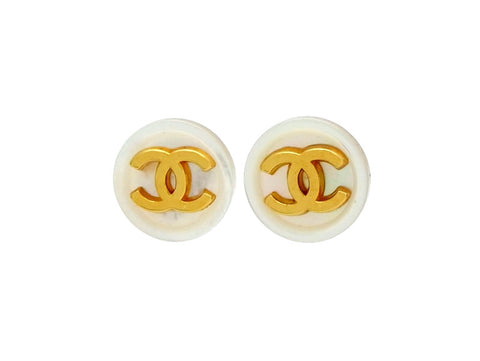 Vintage Chanel stud earrings white button CC logo