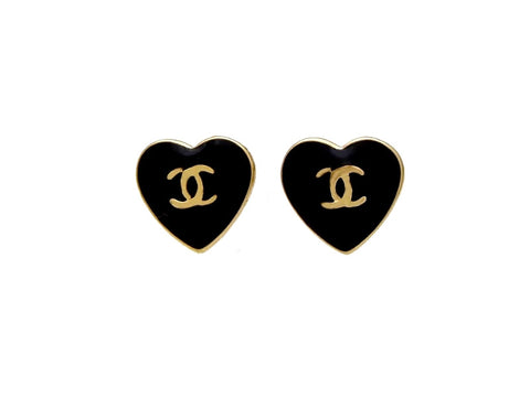Vintage Chanel stud earrings black heart