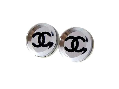 Vintage Chanel stud earrings mirror round silver