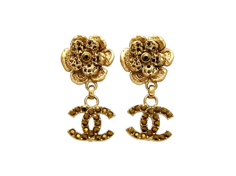 Vintage Chanel stud earrings flower CC dangle