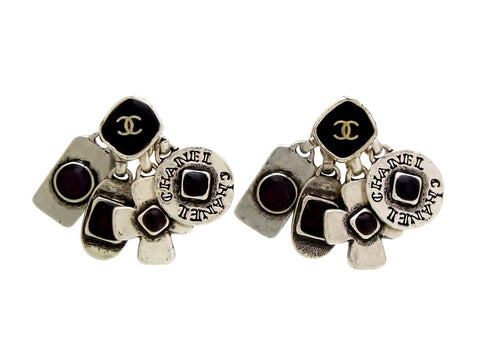Vintage Chanel stud earrings many charms dangle black stone