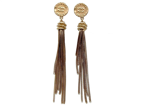 Vintage Chanel stud earrings fringe tassel long