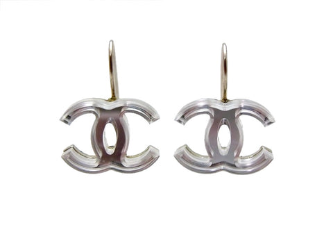 Vintage Chanel stud earrings CC logo clear mirror dangle