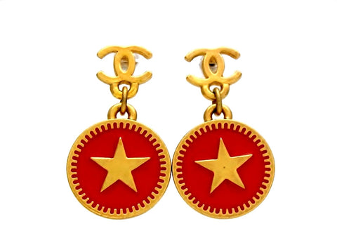 Vintage Chanel stud earrings CC logo red round dangle