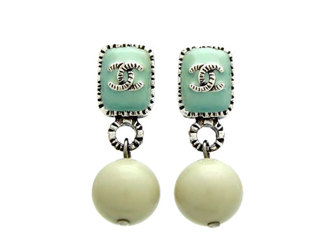 Vintage Chanel stud earrings CC logo green ball dangle