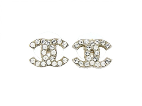 Vintage Chanel stud earrings CC logo rhinestone silver color