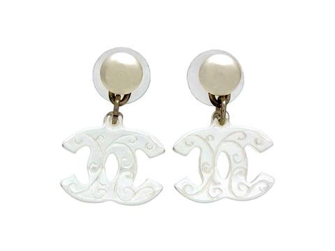 Vintage Chanel stud earrings pearl CC logo dangle 2way