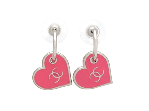 Vintage Chanel stud earrings heart CC logo dangle pink